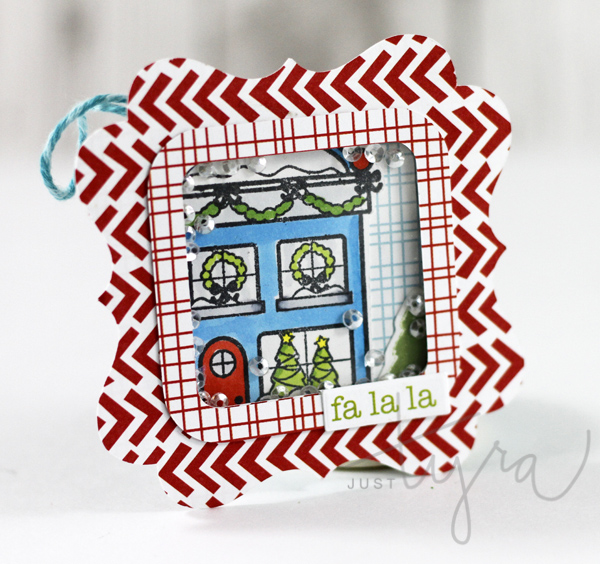 fa la la shaker tag featuring Sweet Stamp Shop holiday house