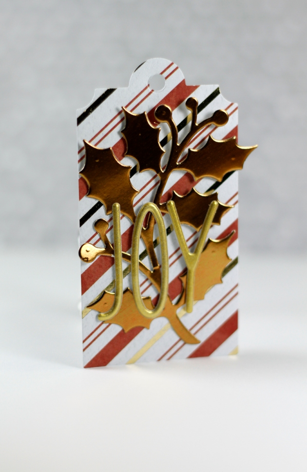 Foil Holiday Tag Holly Joy Tyra for Craftwell Dec 2015